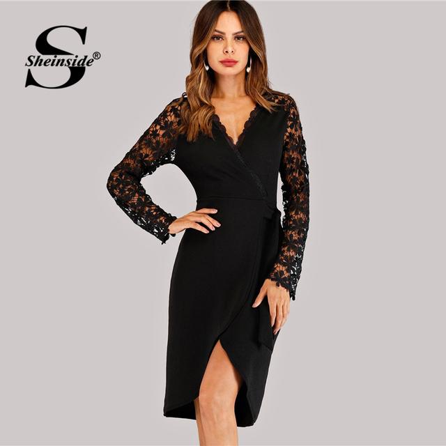 Sheinside Black V Neck Lace Wrap Dress Women Summer Party Sexy Ladies Dresses 2018 Womens Clothing Elegant Long Sleeve Dress