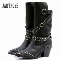 Jady Rose Black Iron Pointed Toe Women Mid Calf Boots Chunky High Heel Boot Rivets Studded Botas Mujer Rubber Martin Boots