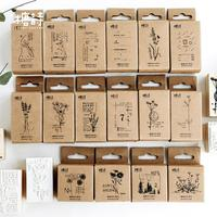 16pcs/set Plant Extracts Vintage Handbook Series Wooden Rubber Stamps for Scrapbooking Stationery DIY Scrapbooking Wooden Stamp