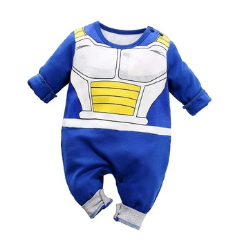 Yierying Baby Clothes Newborn baby Rompers 100% Cotton Dragon Ball Vegeta Jumpsuits Baby Lovely Long Sleeve Cartoon Clothing yierying baby clothing autumn and winter baby rompers long sleeves cotton hooded infant clothes cartoon newborn jumpsuits