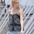 Hui Lin Alcinhas Senhora Camisas Sem Mangas de Renda Preta Floral impressão Mulheres Sexy Camis Novo Design Venda Quente do Verão Das Mulheres topos