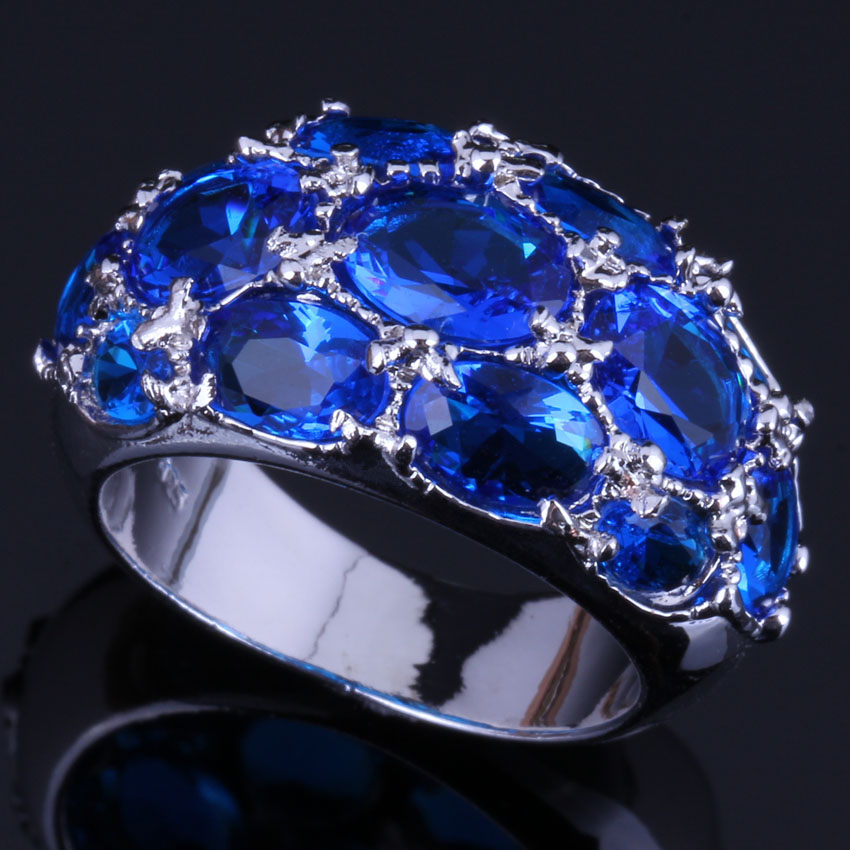 Angelic Oval Blue Cubic Zirconia 925 Sterling Silver Ring For Women V0588