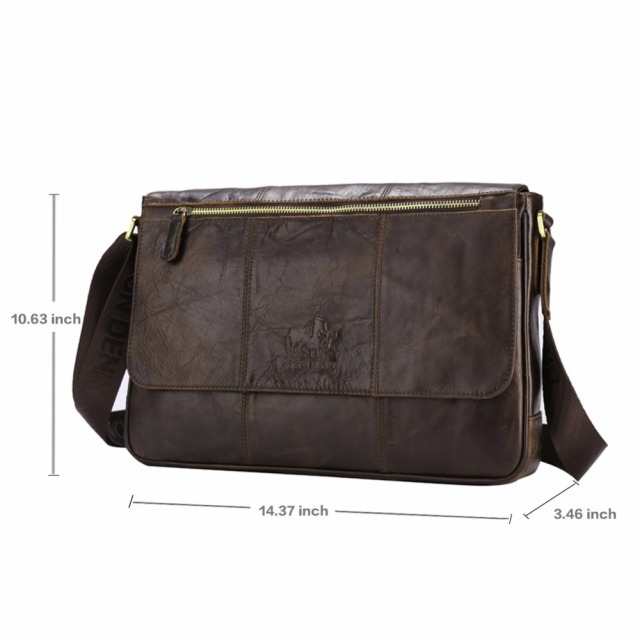 BISON DENIM Genuine Leather 13″ Laptop Shoulder Bag