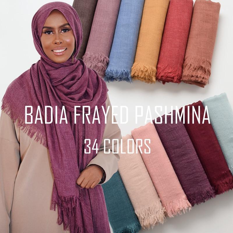 10pcs lot high quality women muslim plain frayed scarf hijab shawls wraps headwear crinkle solid oversize