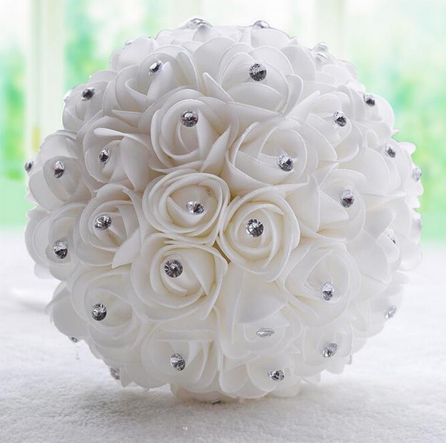 2016 Wedding Bouquet Beautiful White Ivory Bridal Flower Artificial Rose Crystal Bouquets In From
