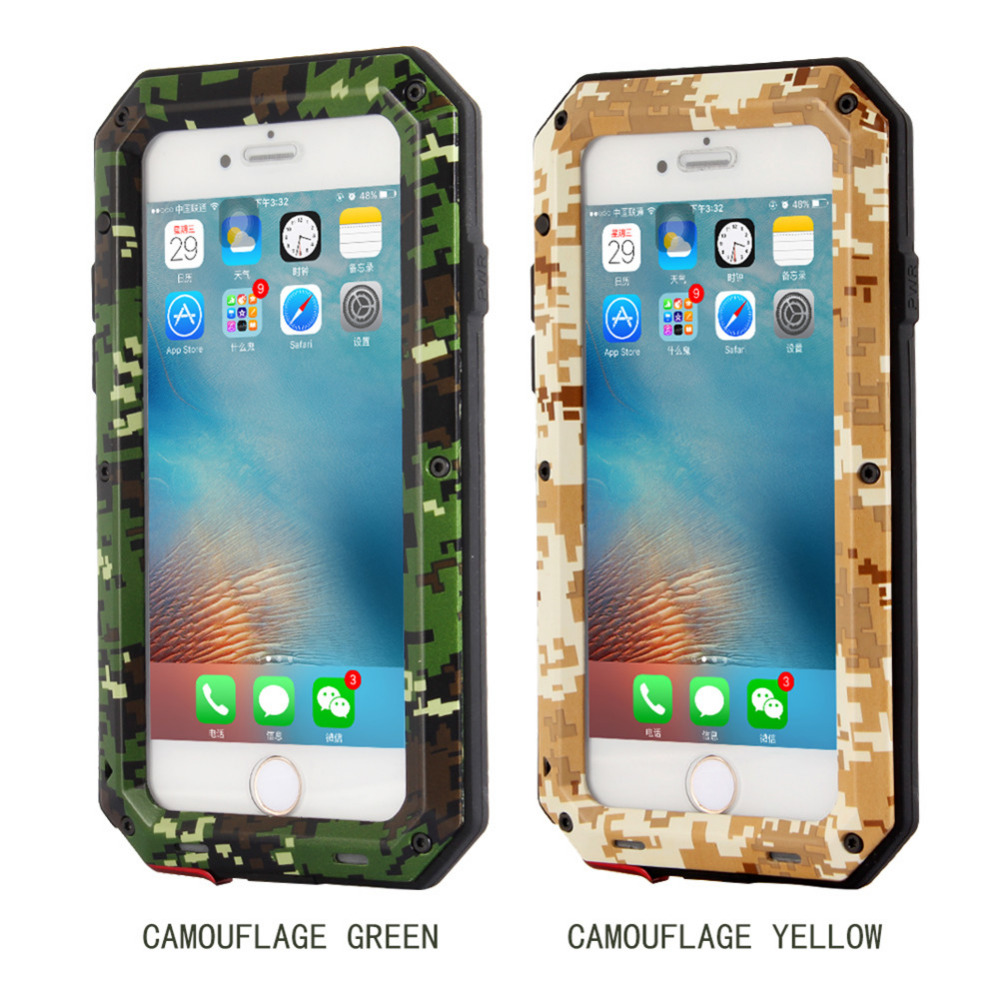 Soft Silicone Protection Cases For Iphone Metal Extreme Water Resistant Shockproof Military Cover Shell Case For