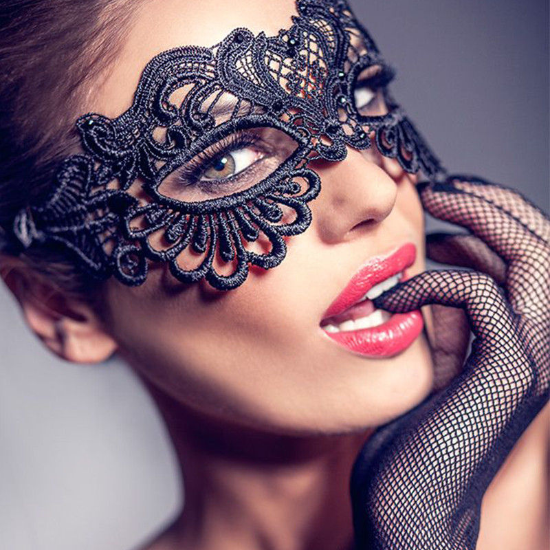 Erotic Lingerie For Women Black Lace Transparent Eye Mask Cosplay Halloween Party Sexy Costumes Sex Products Sex Toys for Woman    -