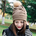 Autumn and winter high quality pure villus hair ball knitting hat knit wool cap warm double knitted hat