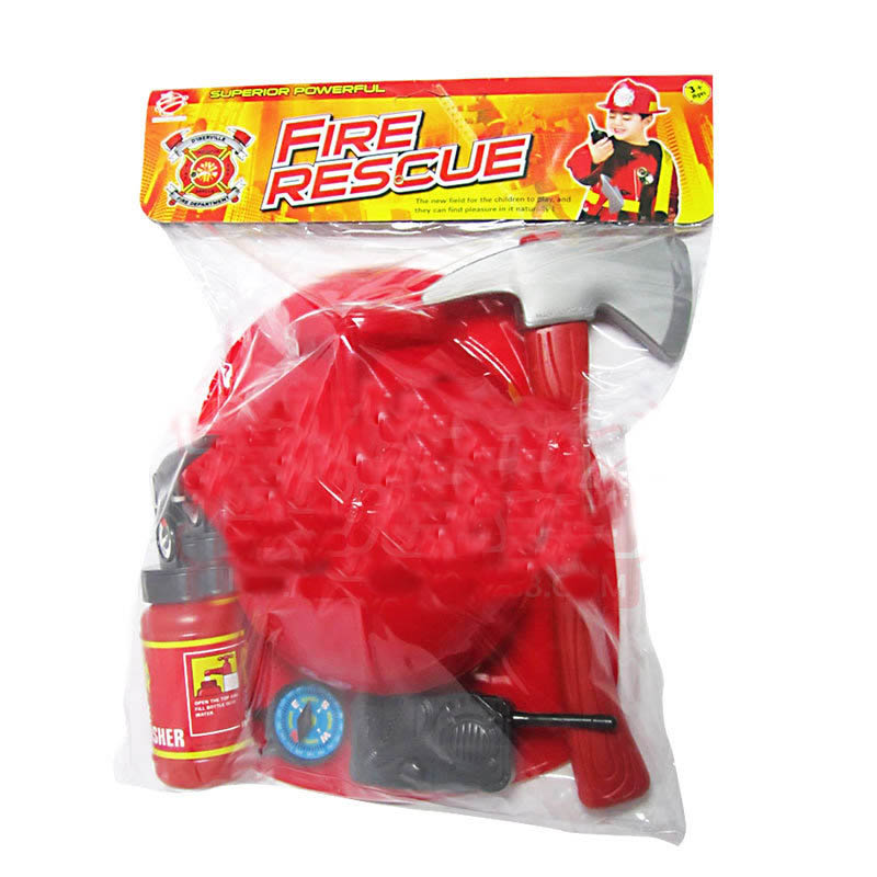 Fireman Toy Children Pretend Play Toys Fireman Cosplay Games Educational Toy Gift For Boys Hat Axe Crowbar Fire Extinguisher Set