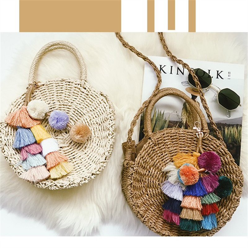 NEW Women Handmade Round Beach Shoulder Bag Bali Circle Straw Bags Summer Woven Rattan Handbags Women Messenger Bag INS Popular 2018 women hand woven round rattan straw bag ins bali bag bohemian beach circle bag circular handbag shoulder