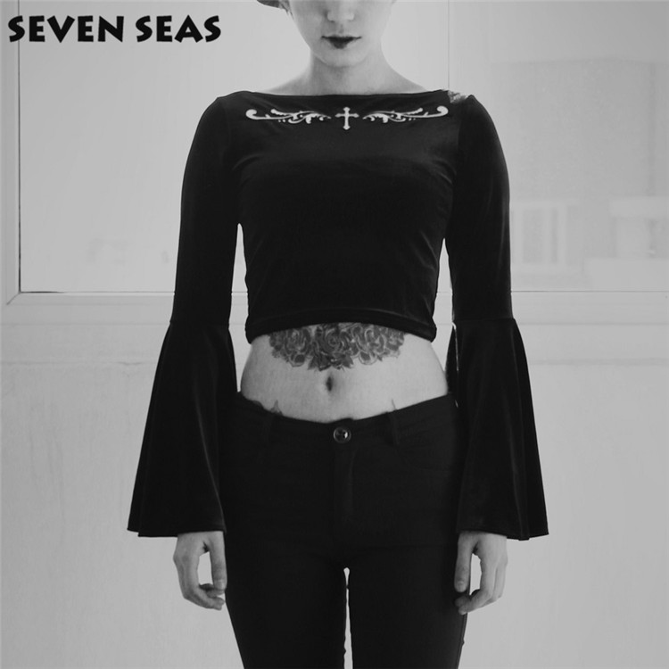 98eb28f6d470a Black Dark Cross Embroidery Gothic Velvet Tops Stretch Flare Long Sleeve Cropped  Tops Tee Shirts
