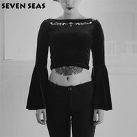 Black Dark Cross Embroidery Gothic Velvet Tops Stretch Flare Long Sleeve Cropped Tops Tee Shirts