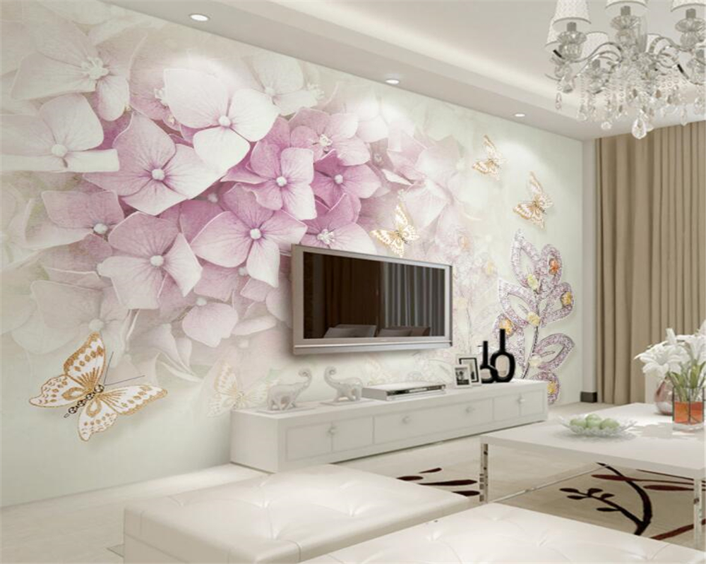 Detail Feedback Questions About Beibehang Photo Wall Mural Wallpaper 3d Purple Flower Crystal Jewelry Leaf Butterfly Tv Background Wall Wallpaper For Walls