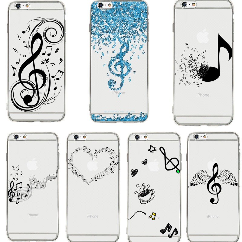 DIFFRBEAUTY Cartoon Music Notes Wings Phone Case Coque For iPhone XR 6 6S Plus X 5 SE Plus Clear Phone Cover For iPhone 8 7 Plus