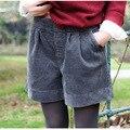 Moi menina Ocasional das mulheres de Veludo Cor Sólida de Algodão Shorts Das Senhoras Elástico Na Cintura Shorts De Perna Larga Feminino 2017 Novo Inverno Primavera