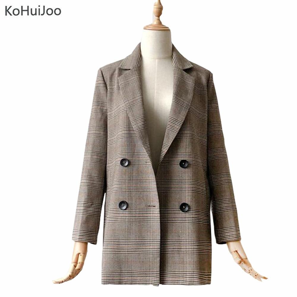 KoHuiJoo Spring Autumn Women Plaid Blazer and Jackets Slim Double Breasted Long Suit Coat Vintage Office Elegant Classic Blazer