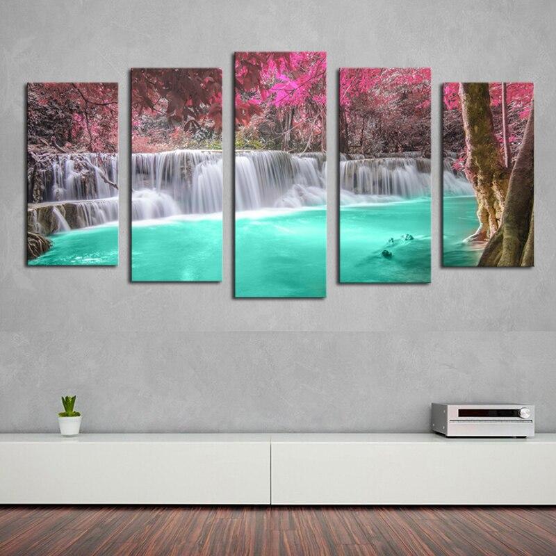 5 panelů (bez rámu) vodopád moderní domácí nástěnná malba na plátně Art HD tisk obraz na plátně pro domácí dekor