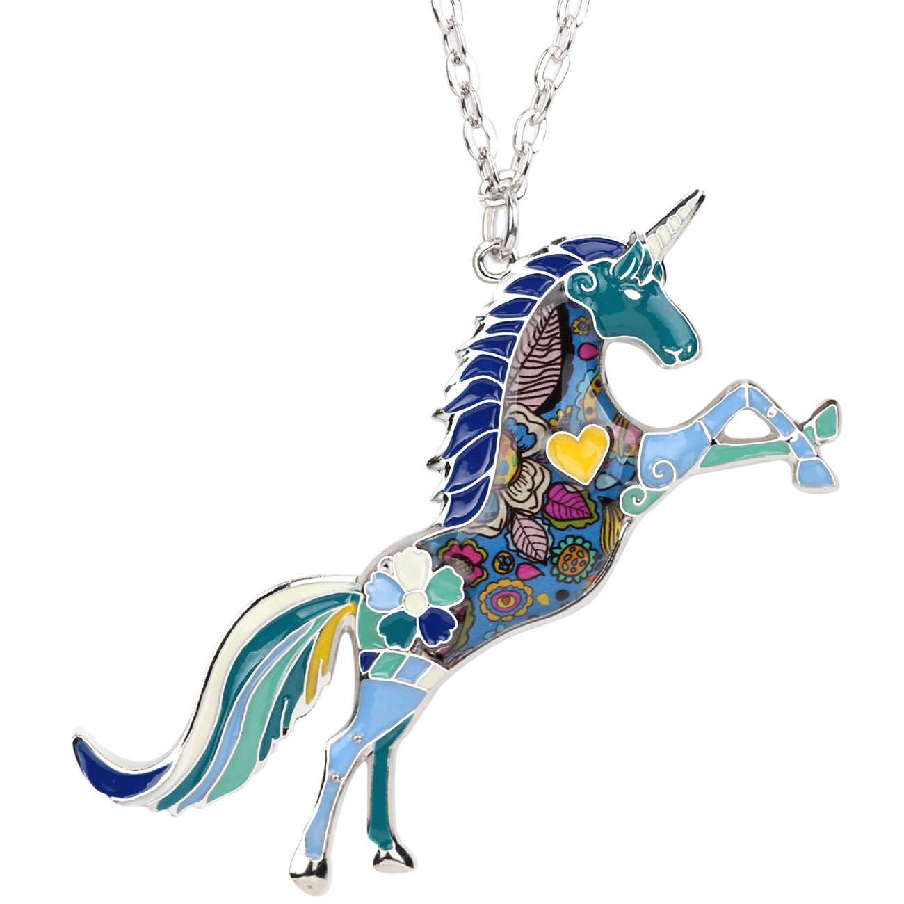 WEVENI المينا سبائك يونيكورن الحصان قلادة سلسلة بدلاية طوق Fiary مجوهرات بأشكال حيوانات للنساء الفتيات Birthdaty هدية هبوط السفينة