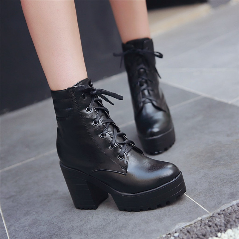 YMECHIC Punk Platform Lace Up Ankle Block Heel Boots White Black Chunky Heels Ladies Plus Size Autumn Shoes Goth Motorcycle Boot-in Ankle Boots from Shoes    1