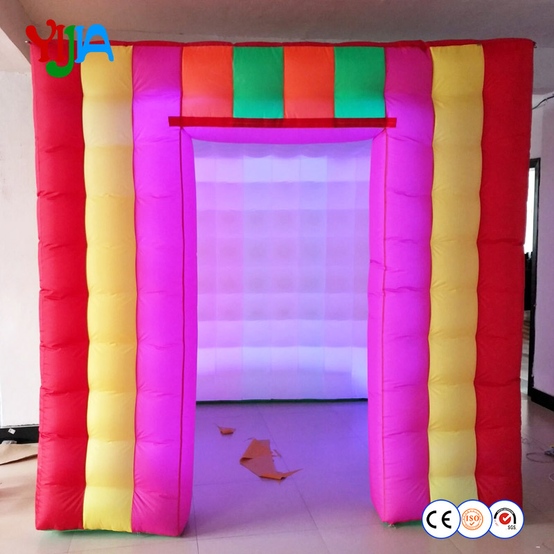 Free shipping 8ft colorful LED inflatable photo booth tent cube with 2 doors for party