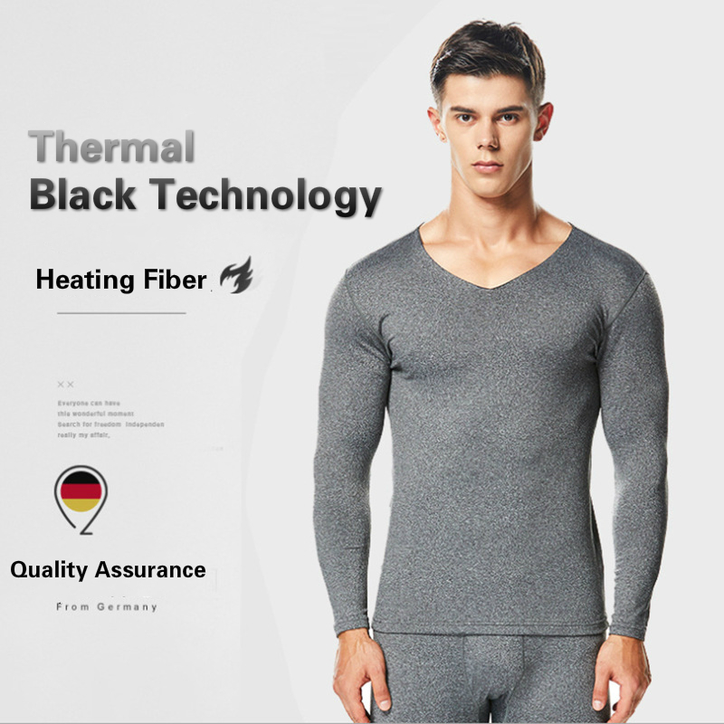 2019 New Winter Thermo Underwear Suit For Men Warm Plus Velvet Thin Slim Body Shirt + Leggings Compression Thermal Clothes(China)