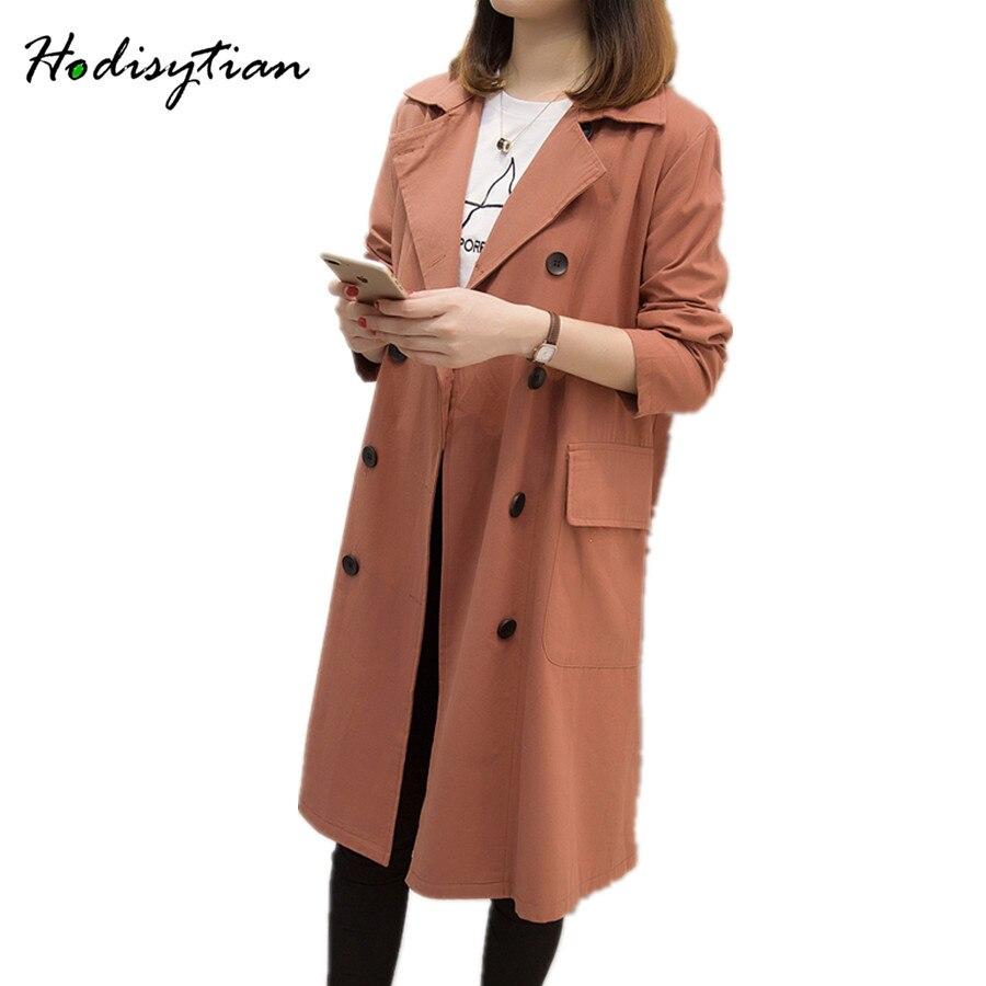 Hodisytian Autumn Fashion Women   Trench   Coat Casual Long Loose Cardigans Blazer Coat Windbreaker Female Solid Overcoat Plus Size
