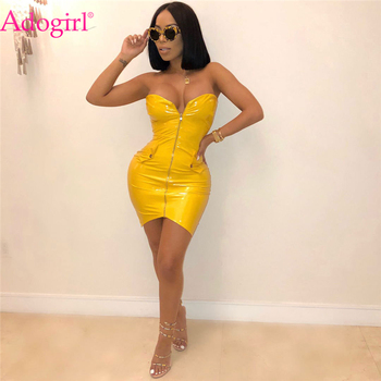 Adogirl Women Sexy Strapless PU Leather Club Dress Solid Yellow Red Gold Zipper Front Bodycon Mini Party Dresses Vestidos Mujer