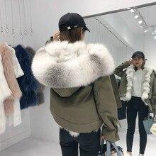 Новинка, Толстая теплая зимняя женская куртка с натуральным лисьим мехом и воротником из меха енота, съемная верхняя одежда 3 в 1, парки