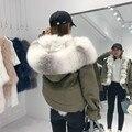 2020 novo natural real pele de raposa forro de pele de guaxinim gola grosso quente casaco de inverno feminino destacável 3 em 1 outerwear parkas