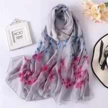 2019 New Women's Spring Summer Silk Scarf Soft Print Scarves Large Size Shawls Wraps Lady Pashmina Female Bandana Hijab Foulard