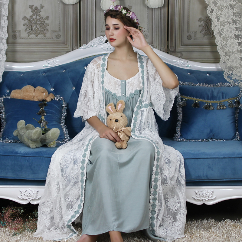 Lace Long Robe Women Classic Vintage Robe Loose Nightgown Ladies Sleepwear Gowns Beautiful Women New Fashion 6 Color