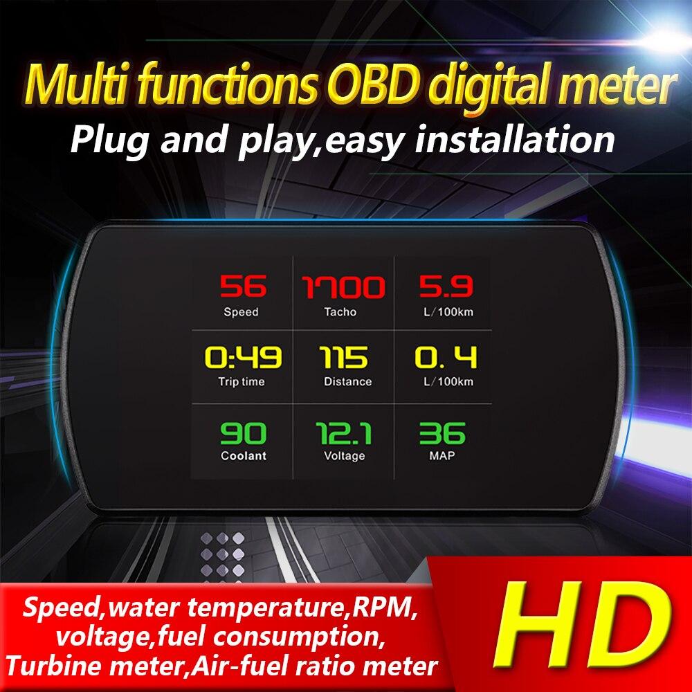 Affichage de tête de voiture d'ordinateur de bord de voiture de voiture de gravure OBD2 HUD GPS compteur de vitesse véhicule OBD compteur numérique intelligent affichage TFT HD