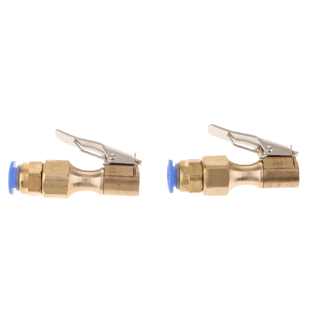 1 Pair Car Bike Air Compressor Chuck Nozzle 8mm Clip On Tyre Valve Connector