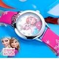 Nueva Cartoon Reloj de Los Niños de La Princesa Elsa Anna Relojes Fashion Girl Kids Estudiante Lindo Cuero Deportes Analógicas Relojes de Pulsera