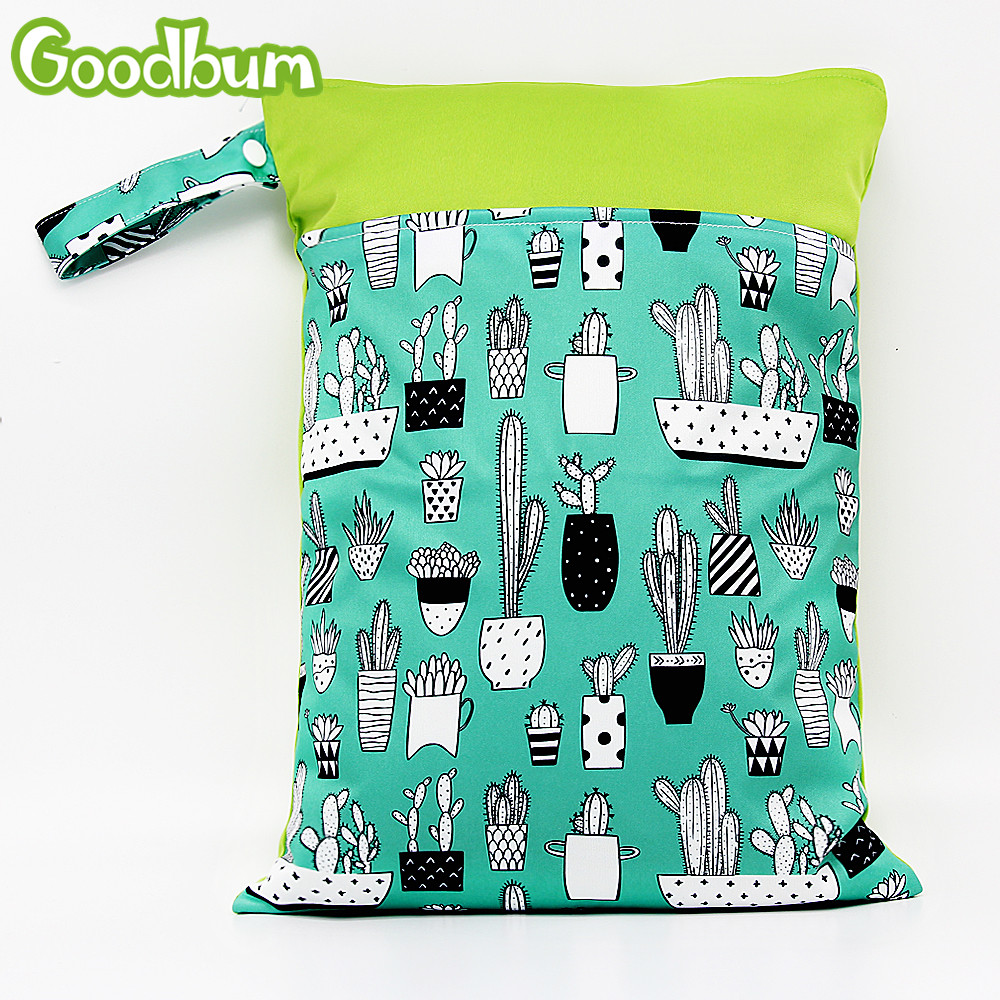 Goodbum 1PC Reusable Water Resistant Printed PUL Wet Dry Diaper Bag Double Pocket Cloth Handle Wetbags 30x4CM