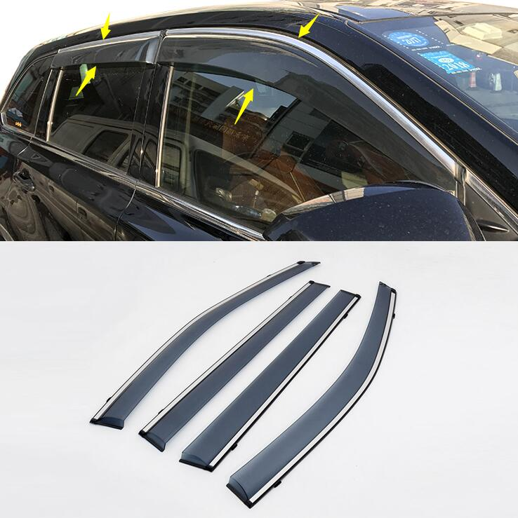Side Window Rain Deflectors Guard Visor Weathershields Door Shade Shield Fit For 2014 2015 2016 2017 Toyota Highlander Kluger 2015 2017 car wind deflector awnings shelters for hilux vigo revo black window deflector guard rain shield fit for hilux revo