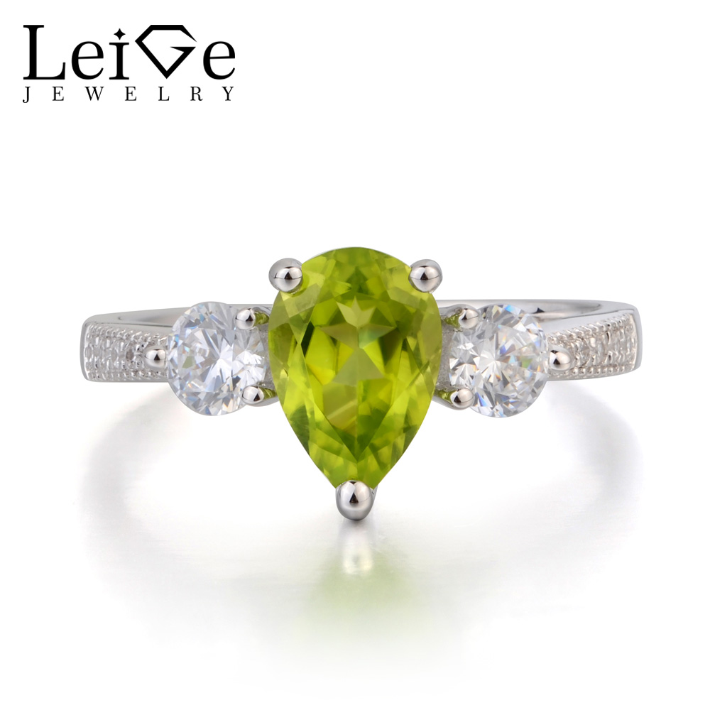 Leige Jewelry Wedding Ring Natural Green Peridot Ring Gemstone August Birthstone Real 925 Sterling Silver Ring Three Stones Ring leige jewelry real peridot rings proposal ring oval cut green gemstone ring august birthstone ring 925 sterling silver gifts
