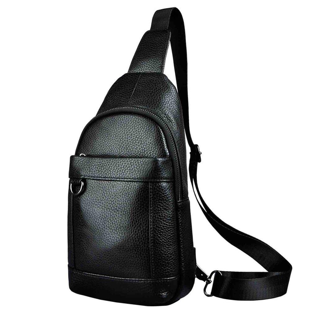 Men Genuine Leather Casual Fashion Waist Pack Chest Bag Design Sling Bag One Shoulder Bag Crossbody Bag For Male 8016d Men messenger style bags