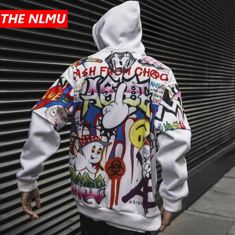 Hip Hop Hoodies Men Women 2019 Autumn Winter Letter Graffiti Printed Pullover Hoodie Male Fashion Streetwear Sweatshirts WG343
