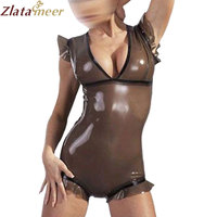 Sexy Preto Transparente Com Decote Em V Bodysuit Zentai Fetiche De Borracha Látex Catsuit Leotard Plus Size Traje Adulto LC122