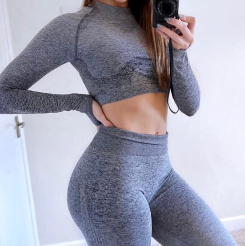 Gradient Color Sports Top Women Stretch Crop Tops For Fitness Yoga Shirt Long Sleeves Gym Tshirts Sport Jerseys Running Female  4