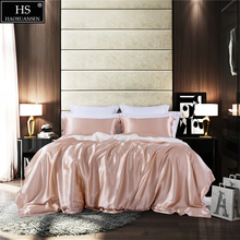 Mulberry Silk 4 Pcs Bedding Sets With Hidden Button Both Side 19 MM Sheet Quilt cover Pillow case King Size Champagne