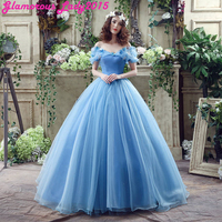 Blue Vintage Fairy Tail Cap Sleeve Scoop Neck Prom Dresses For Women Formal Occasion Bride Party