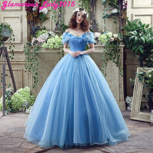 fb6b2dfcdf5d0 Blue Vintage Fairy Tail Cap Sleeve Scoop Neck Prom Dresses For Women Formal  Occasion Bride Party Gown Tulle Butterfly In Stock