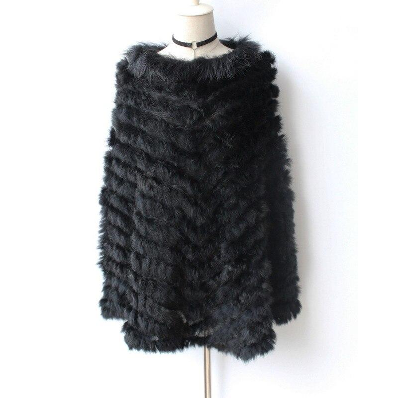 (TopFurMall) Lady Knitted Rabbit Fur Poncho Shawls Raccoon Fur Collar  Women Fur Pullover Female Pashmina Wraps  LF5034