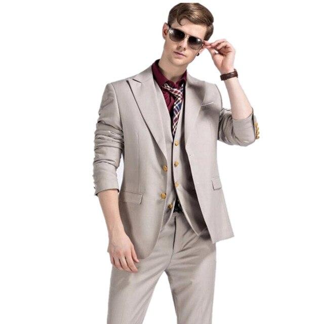 f28248c6f31f US $104.88 8% OFF Männer Anzüge Für Hochzeit Luxus mode Beige Smoking Für  Männer 3 Stück Anzug Slim Fit Designer Prom Anzüge Herren Bühne ...