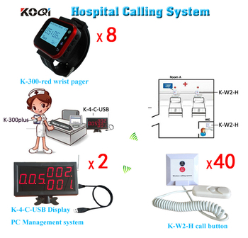 Nurse Wireless Calling Software Display & Wrist Watch Pager And Bed Patients Button Paging System Free Shipping