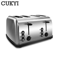CUKYI 4 Slices Stainless steel toaster Automatic Fast heating bread toaster Household Breakfast maker Oven heating machine EU