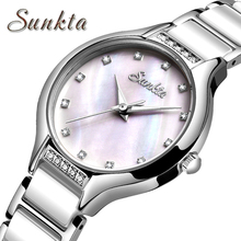 SUNKTA2019 Women Fashion Gold Quartz Watch Ceramics Strap High Quality Casual Waterproof Gift for Wife Zegarek Damsk