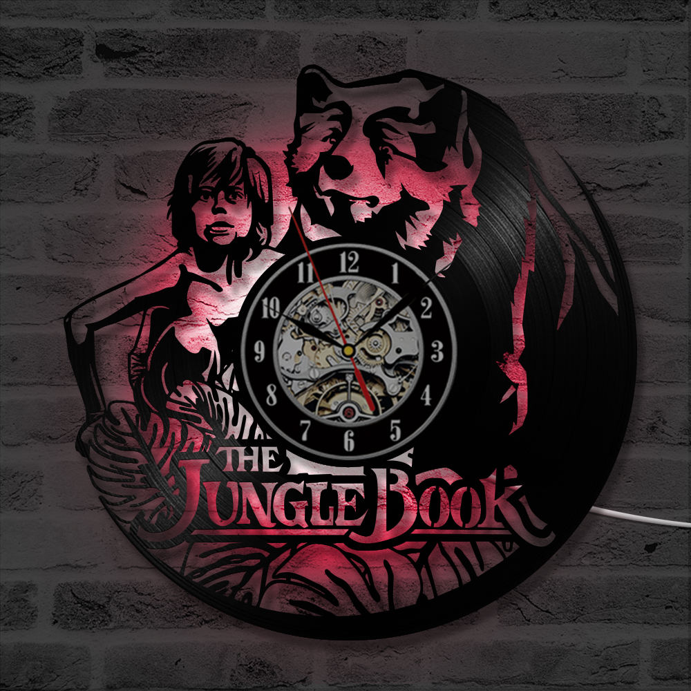 Classic Cartoon The Jungle Book CD Record LED Clock Antique Wall Clock Handmade Home Decor Mowgli Vinyl Record Silent Clock